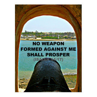 Isaiah Bible No weapon formed against me Postcard