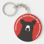 ISBD BLACK BEAR BASIC ROUND BUTTON KEY RING