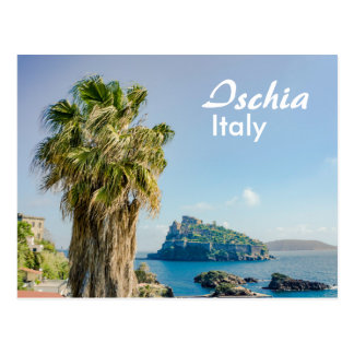 Ischia in Italy Palm Tree with Castello Aragonese Postcard