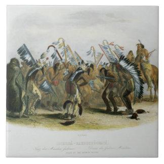 Ischoha-Kakoschochata, Dance of the Mandan Indians Large Square Tile