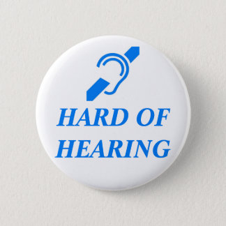 ISD Hard of Hearing, Blue on White 6 Cm Round Badge