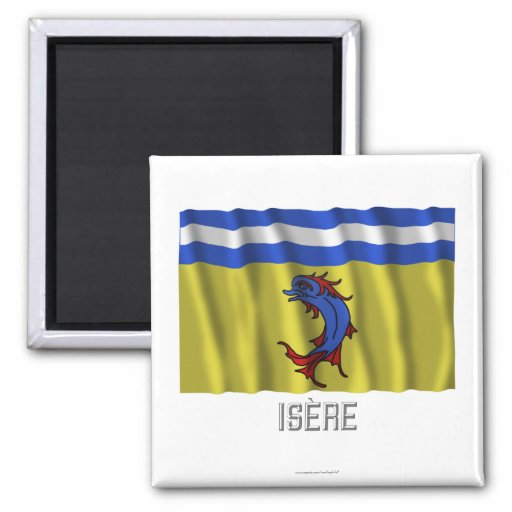 Isère waving flag with name fridge magnets