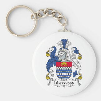 Isherwood Family Crest Basic Round Button Key Ring