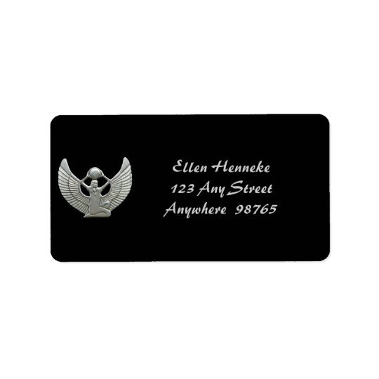 Isis Amulet Silver Address Label