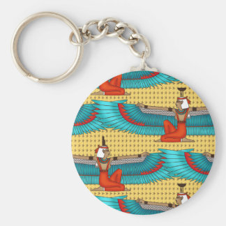 Isis and Nephtys. Turquoise and yellow. Basic Round Button Key Ring