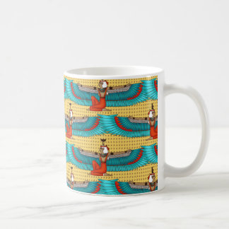 Isis and Nephtys. Turquoise and yellow. Coffee Mug