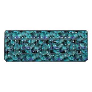 Isis blue feather pattern wireless keyboard