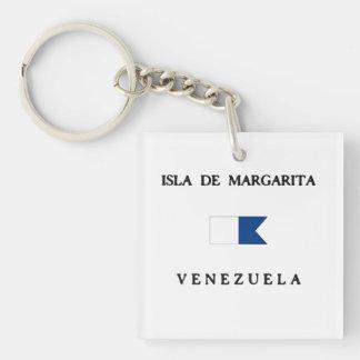 Isla de Margarita Venezuela Alpha Dive Flag Double-Sided Square Acrylic Key Ring