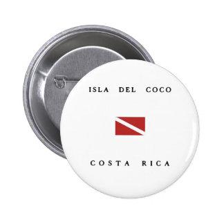 """""""Isla Del Coco"""" """"Costa Rica"""" Scuba Dive Flag 6 Cm Round Badge"""