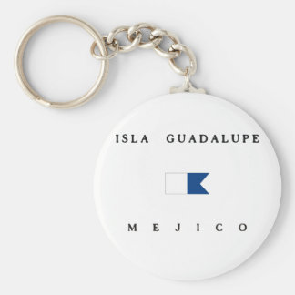 Isla Guadalupe Mejico Alpha Dive Flag Basic Round Button Key Ring