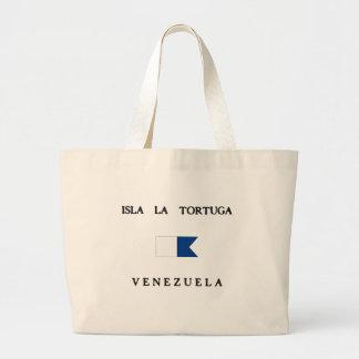 Isla La Tortuga Venezuela Alpha Dive Flag Canvas Bags