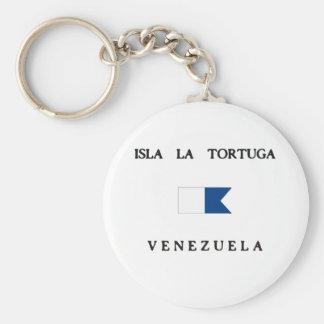 Isla La Tortuga Venezuela Alpha Dive Flag Key Chain