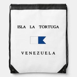 Isla La Tortuga Venezuela Alpha Dive Flag Cinch Bags