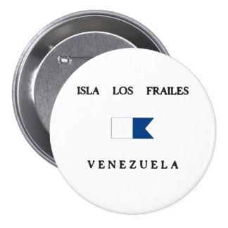 Isla Los Frailes Venezuela Alpha Dive Flag Pinback Buttons