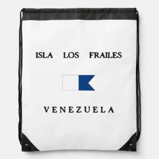 Isla Los Frailes Venezuela Alpha Dive Flag Drawstring Backpacks