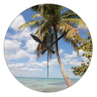 Isla Saona - Palm Tree at the Beach Large Clock