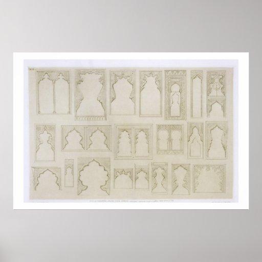 Islamic and Moorish arch designs for balconies, wi Print