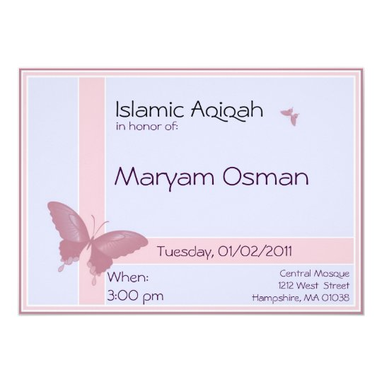 Islamic aqiqa invitation baby girl celebration zazzle islamic aqiqa invitation baby girl celebration stopboris Image collections