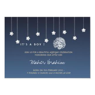 Islamic Aqiqah Aqeeqah baby night sky star 13 Cm X 18 Cm Invitation Card