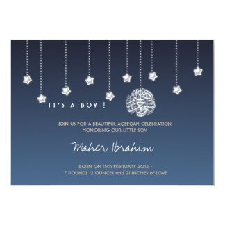 Islamic Aqiqah Aqeeqah baby night sky star Card