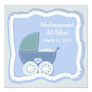 "Islamic Aqiqah baby invitation bismillah muslim 5.25"" Square Invitation Card"