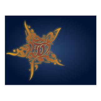 Islamic bismillah calligraphy star Arabic Postcard