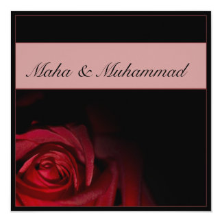 Islamic black red rose wedding / engagement card