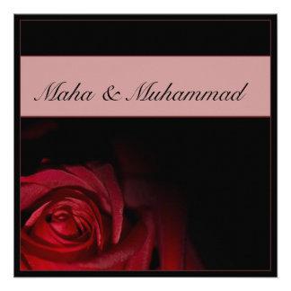 Islamic black red rose wedding engagement personalized invite