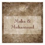 Islamic brown vintage wedding / engagement invite