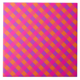 Islamic Collection, Pink Orange Purple Check Large Square Tile