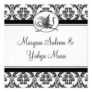 Islamic damask bismillah wedding invitation card
