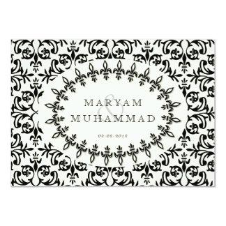 Islamic damask wedding engagement black flower card