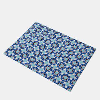 Islamic geometric Moroccan pattern in blue Doormat