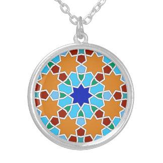 Islamic geometric pattern round pendant necklace