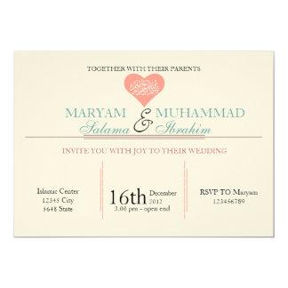 Islamic Islam vintage wedding engagement pink 13 Cm X 18 Cm Invitation Card