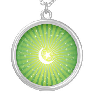 Islamic Moon & Star Round Pendant Necklace