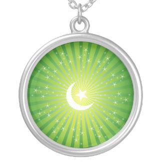 Islamic Moon & Star Round Pendant Necklace