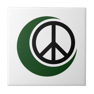 Islamic Muslim Symbol with Peace Sign Small Square Tile