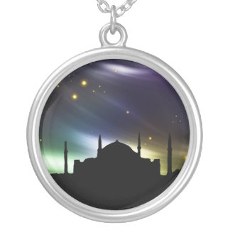 Islamic necklace with black mosque and star sky