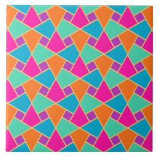 Islamic Pink, Orange, Turquoise, Green Gold-effect Large Square Tile