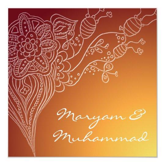 Islamic red bismillah wedding invitation card
