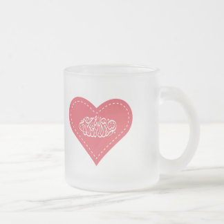Islamic red heart stitch bismillah calligraphy frosted glass mug