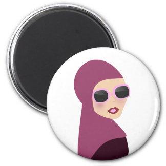 Islamic scarf muslima hijab lady style 6 cm round magnet