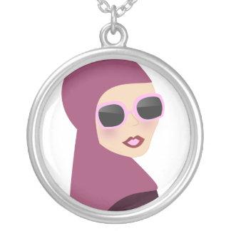 Islamic scarf muslima hijab lady style round pendant necklace