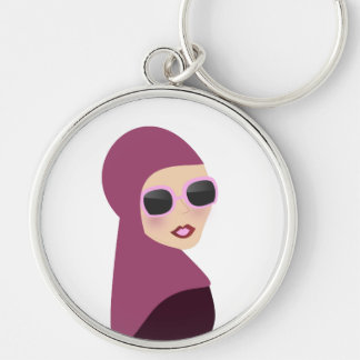 Islamic scarf muslima hijab lady style Silver-Colored round key ring