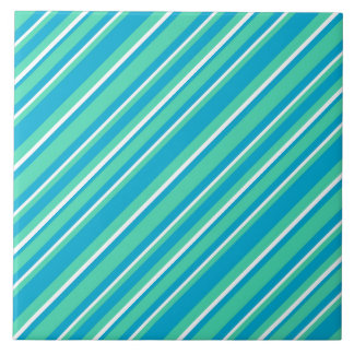 Islamic Turquoise, Aqua and White Striped Pattern Large Square Tile