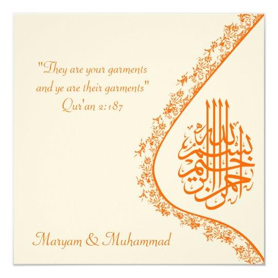 Islamic wedding engagement damask invitation card zazzle for Islamic wedding invitations messages