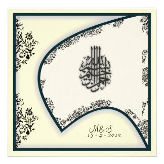 Islamic wedding engagement falcon damask invite