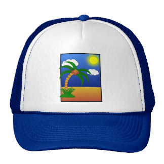 island-41170 island palm tree cartoon media clip p trucker hat