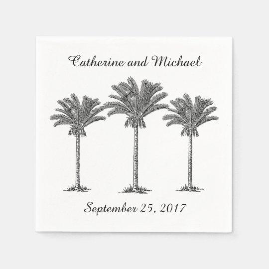 Island Beach Palm Trees Black White Custom Wedding